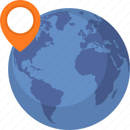 globe, location, pin, world map icon