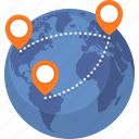 navigation, pin, route, world map icon