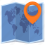 location, navigation, pin, world map icon
