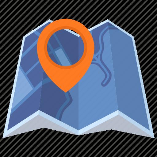 destination, location, map, map pin icon
