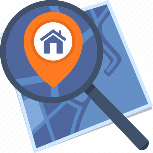 address, destination, home location, home rental, map icon
