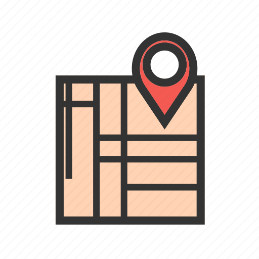 destination, location, map, paper, pin, road, travel icon