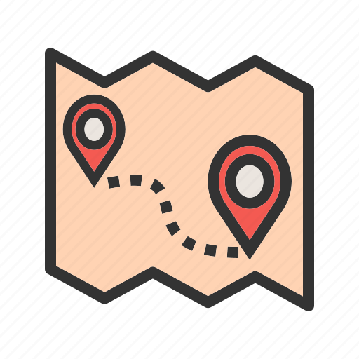 destination, gps, map, road, roadmap, route, trip icon