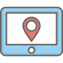 location, map, navigation, tablet icon