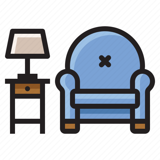 chair, furniture, lamp, reading, table icon