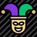 carnival, jester, joker, mardi gras icon