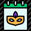 calendar, carnival, mardi gras, mask icon