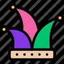 carnival, hat, jester, mardi gras icon