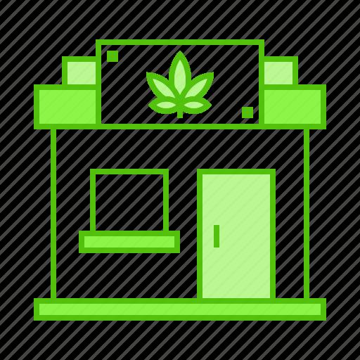 cannabis, drug, marijuana, shop, store icon