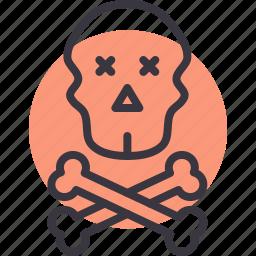 crossbones, danger, death, pirate, skull, warning icon