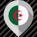 algeria, flag, map, marker icon