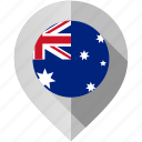 australia, flag, map, marker icon