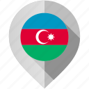 azerbaijan, flag, map, marker icon