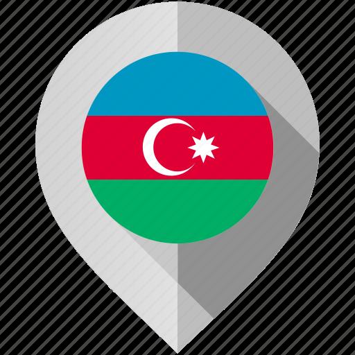 azerbaijan, flag, map, marker icon