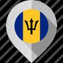 barbados, flag, map, marker icon