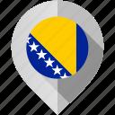 and, bosnia, flag, herzegovina, map, marker icon