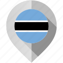 botswana, flag, map, marker icon
