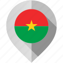 burkina, faso, flag, map, marker icon