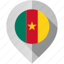 cameroon, flag, map, marker icon