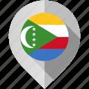 comoros, flag, map, marker icon