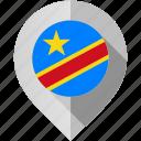 congo, democratic, flag, map, marker, republic icon