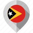 east, flag, map, marker, timor icon