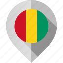 flag, guinea, map, marker icon