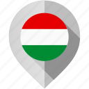 flag, hungary, map, marker icon