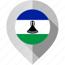 flag, lesotho, map, marker icon