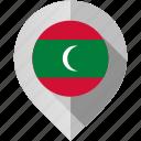 flag, maldives, map, marker icon