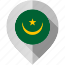 flag, map, marker, mauritania icon