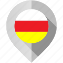 flag, map, marker, north, ossetia icon