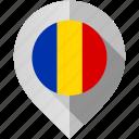 flag, map, marker, romania icon