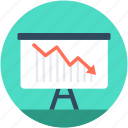 analytics, descending graph, loss graph, presentation, statistics icon
