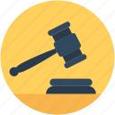 auction, auction hammer, bid, gavel, mallet icon