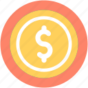 banking, currency, dollar, dollar coin, usd icon