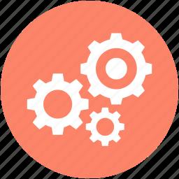 cogs, cogwheel, gear, gearwheel, settings icon