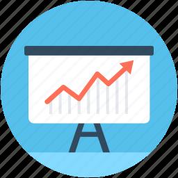 analytics, graph presentation, growth chart, line chart, presentation icon