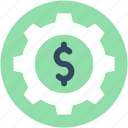 business management, cog, commerce, dollar, economy icon