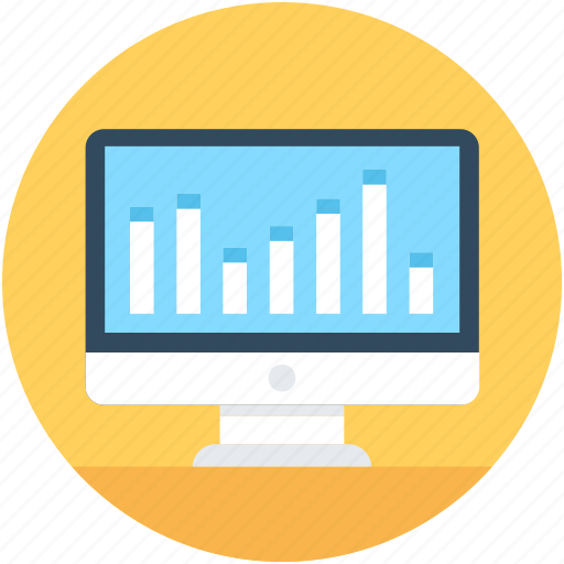 analytics, business graph, infographics, monitor, online graph icon