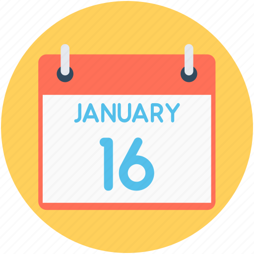 16 january, calendar, date, schedule, timeframe icon