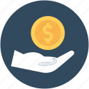currency, dollar, hand gesture, payment, safe investment icon