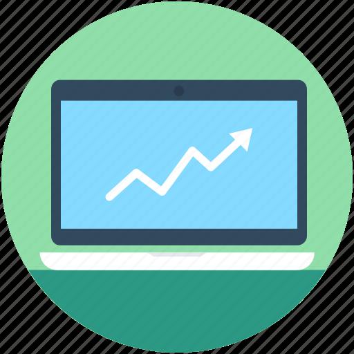 laptop, line graph, online graph, seo graph, statistics icon