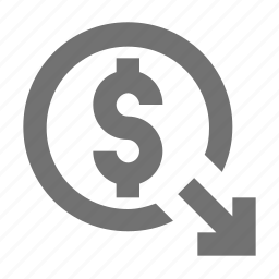 dollar currency, dollar sign, down arrow, money value icon