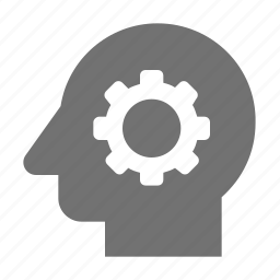 brain cog, brain gear, brainstorm, cogwheel, h, thinking icon