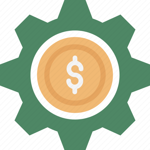 Business settings, dollar in cog, business management, business gear, dollar inside cog, dollar in gear, business customization icon