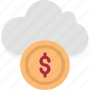 cloud coins, cloud dollar, cloud earning, cloud revenue, cloud with coins, cloud with dollar, dollar icon