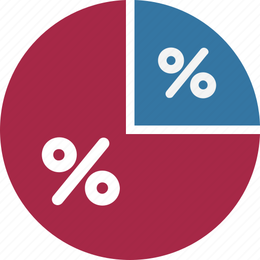 chart, diagram, graph, graph with percentage, pie chart, pie graph, pie graph with percentage icon