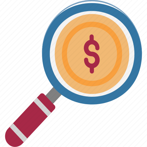 Search finance, commerce, dollar, search money, magnifier icon
