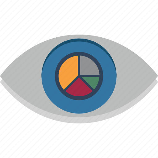 eye, look graph, look pie graph, look state, pie graph, visibility, vision icon
